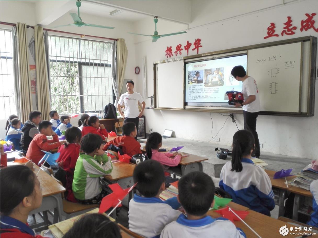 TI员工志愿者带着自己设计的课件和教具授课
