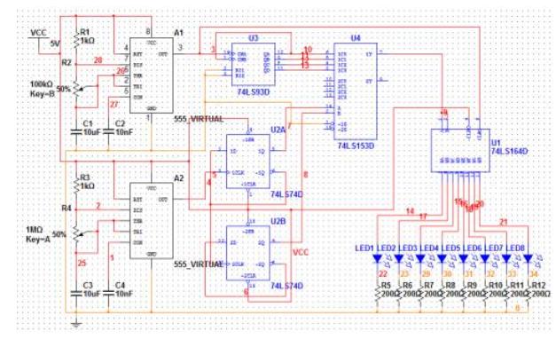 四花样循环控制led彩灯设计电路图