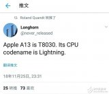 苹果A13处理器曝光 型号为T8030代号闪电
