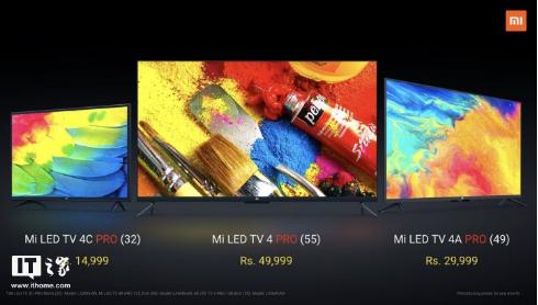 小米在印度市场推出了三款电视产品