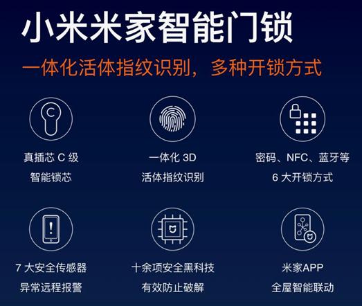 小米米家智能门锁配备了C级智能锁芯 安全方面更有...