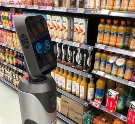 一款由猎豹移动与多点Dmall联合推出的超市机器...