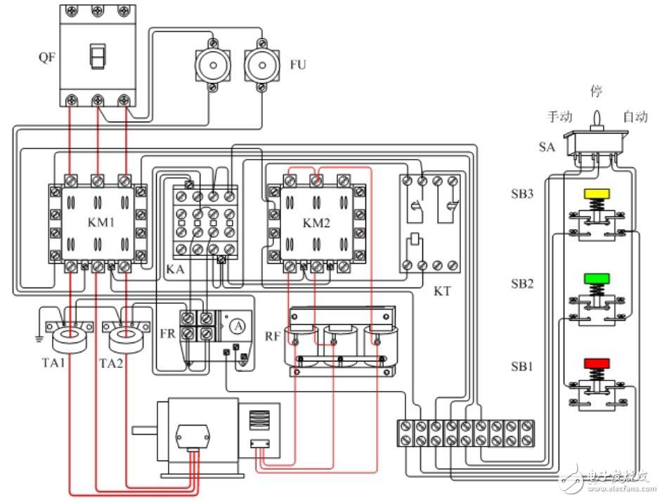 器接线图如下:     1,电机频敏变阻器启动并用刀开关作短路的控制线路