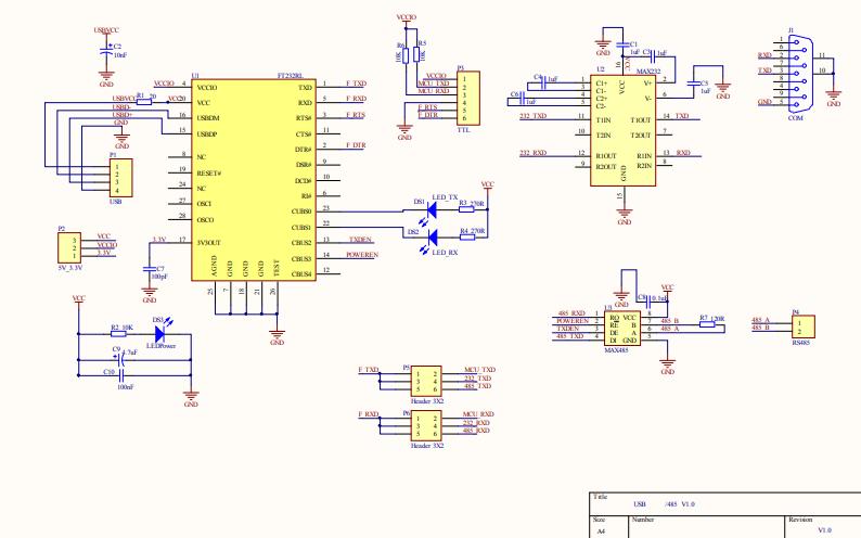 使用FT232R的USB转串口的电路原理图和PCB图及物料清单免费下载