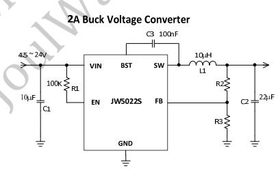 JW5022S电流模式单片降压转换器的数据手册免费下载