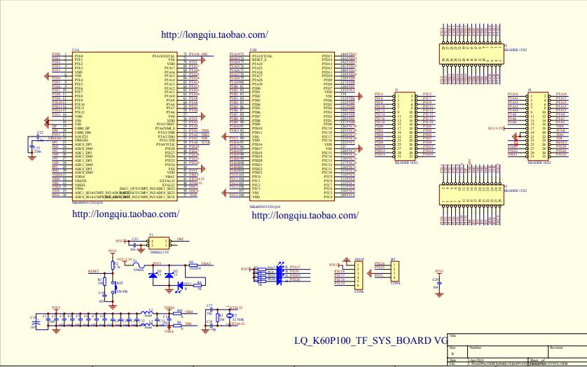 LQ K60P144 SYSVG单片机核心板原理电路图资料免费下载