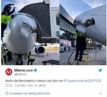 墨西哥波音737客机与无人机撞上
