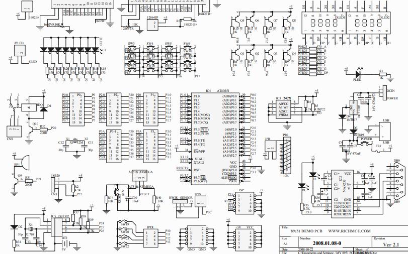 RZ-51单片机开发板电路原理图资料免费下载