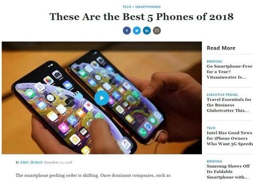 TOP5手机被评为是2018年度最佳手机最具苹果...