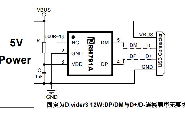 RH791A USB充电协议端口控制芯片的数据手册免费下载