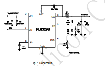 PL8329B高效同步降压开关稳压器的数据手册免费下载