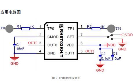 RH8T02K二通道电容式触摸感应芯片的数据手册