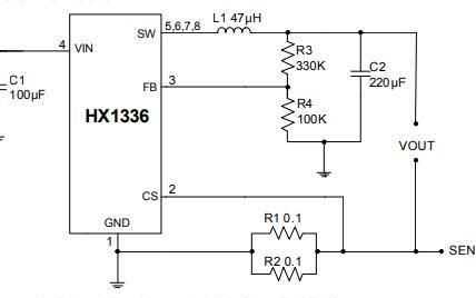 HX1336宽输入范围同步降压控制器的数据手册免费下载