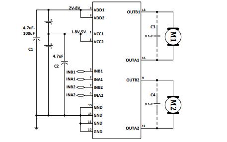 MX1919L双路有刷直流马达驱动电路的中文数据手册免费下载
