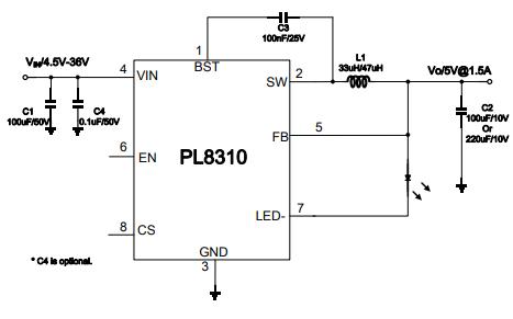 PL8310单片降压开关稳压器的数据手册免费下载