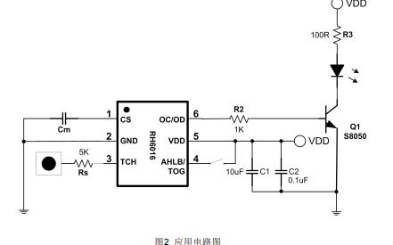 RH6016单通道电容式触摸感应控制开关芯片的数据手册免费下载