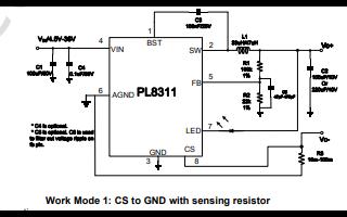PL8311降压开关稳压器的数据手册免费下载