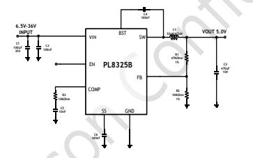 PL8325B单片降压开关稳压器的数据手册免费下载