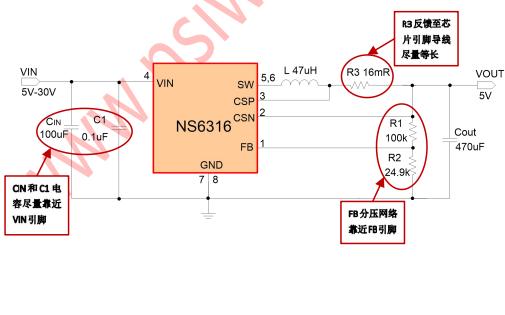 NS6316同步降压电源管理芯片的数据手册免费下载