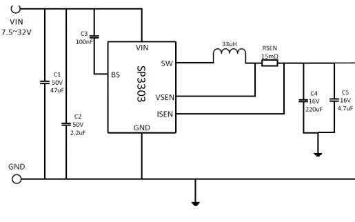 SP3303输入电压降压转换器的数据手册免费下载