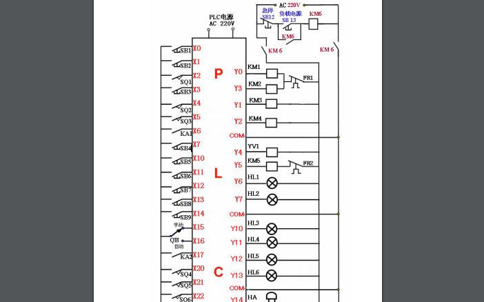 超聲波清洗機PLC外部接線原理圖