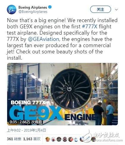 波音在777X飞行试验飞机上成功安装了两台史上最大的GE9X喷气发动机