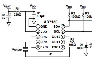 数字转换器构成的近程传感器基础电路