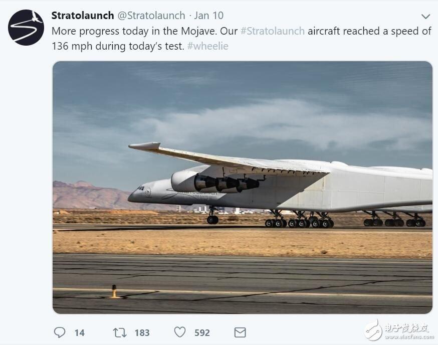 世界最大飞机Stratolaunch进行滑行试验最高速度达到了219公里/小时