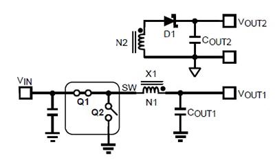 使用Fly-Buck拓撲同步降壓轉換器拓撲生成多個隔的輔助輸出