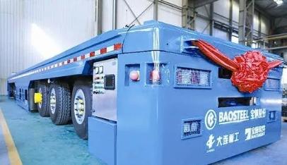 yabo国内最大百吨级混合动力无人驾驶AGV智能运输车交付使用