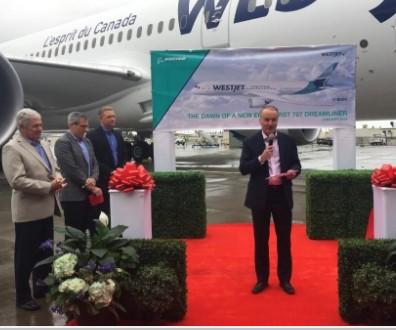 西捷航空接收首架波音787-9梦想飞机机内设三舱总共可载客320人