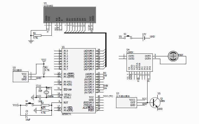 如何使用51单片机设计智能温控风扇包括源码和原理图及元器件介绍