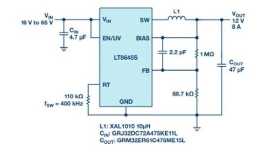 具快速瞬态响应和超低EMI辐射的单片式65V、8A降压型稳压器