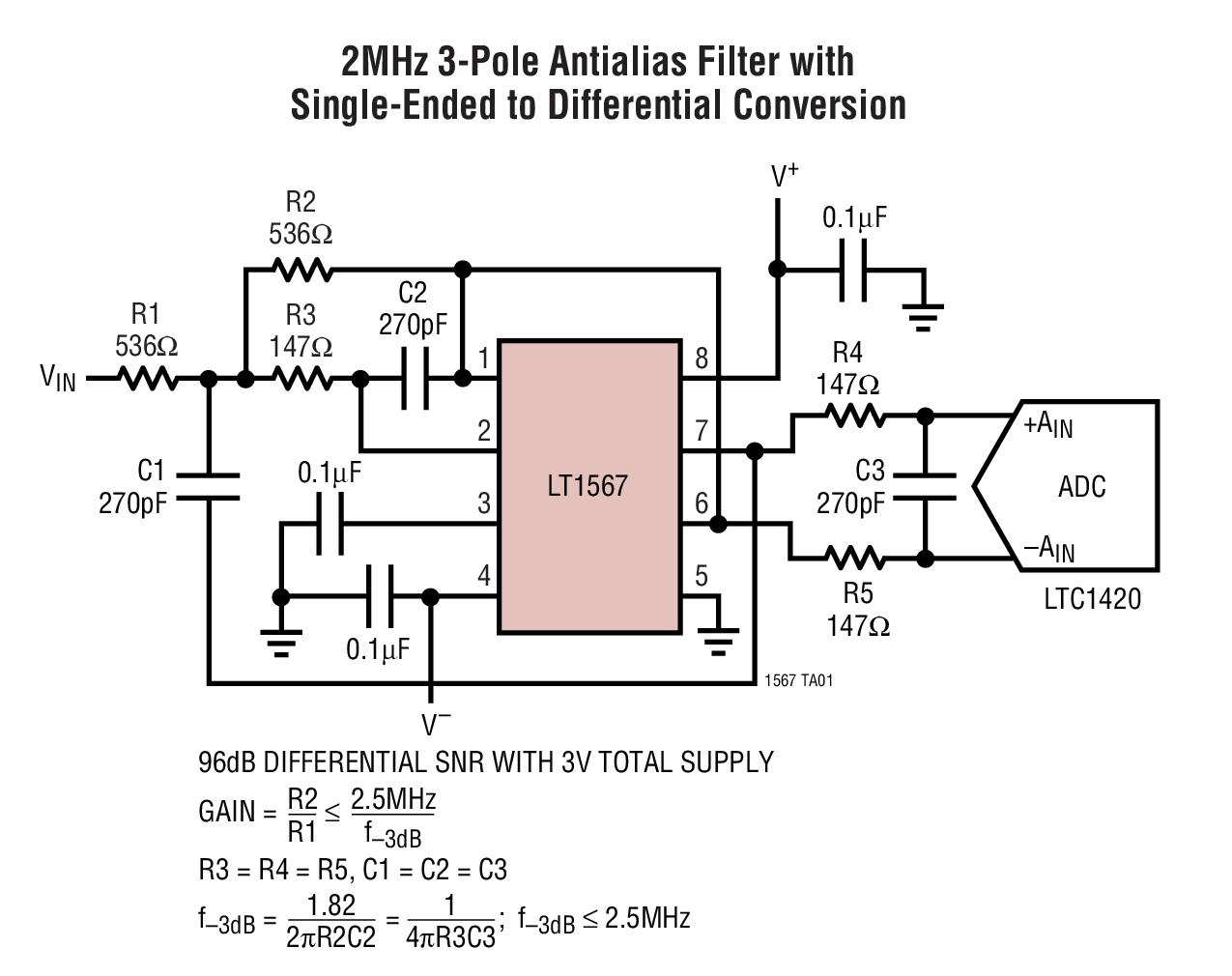 LT1567 1.4nV/√Hz 180MHz 滤波器单元式部件
