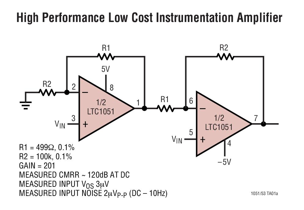 LTC1051 具内部电容器的双通道、精准型、零漂移运算放大器