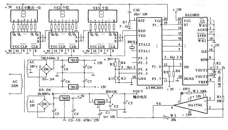 单片机与DA转换接口电路应用实例数控直流稳压电源的说明