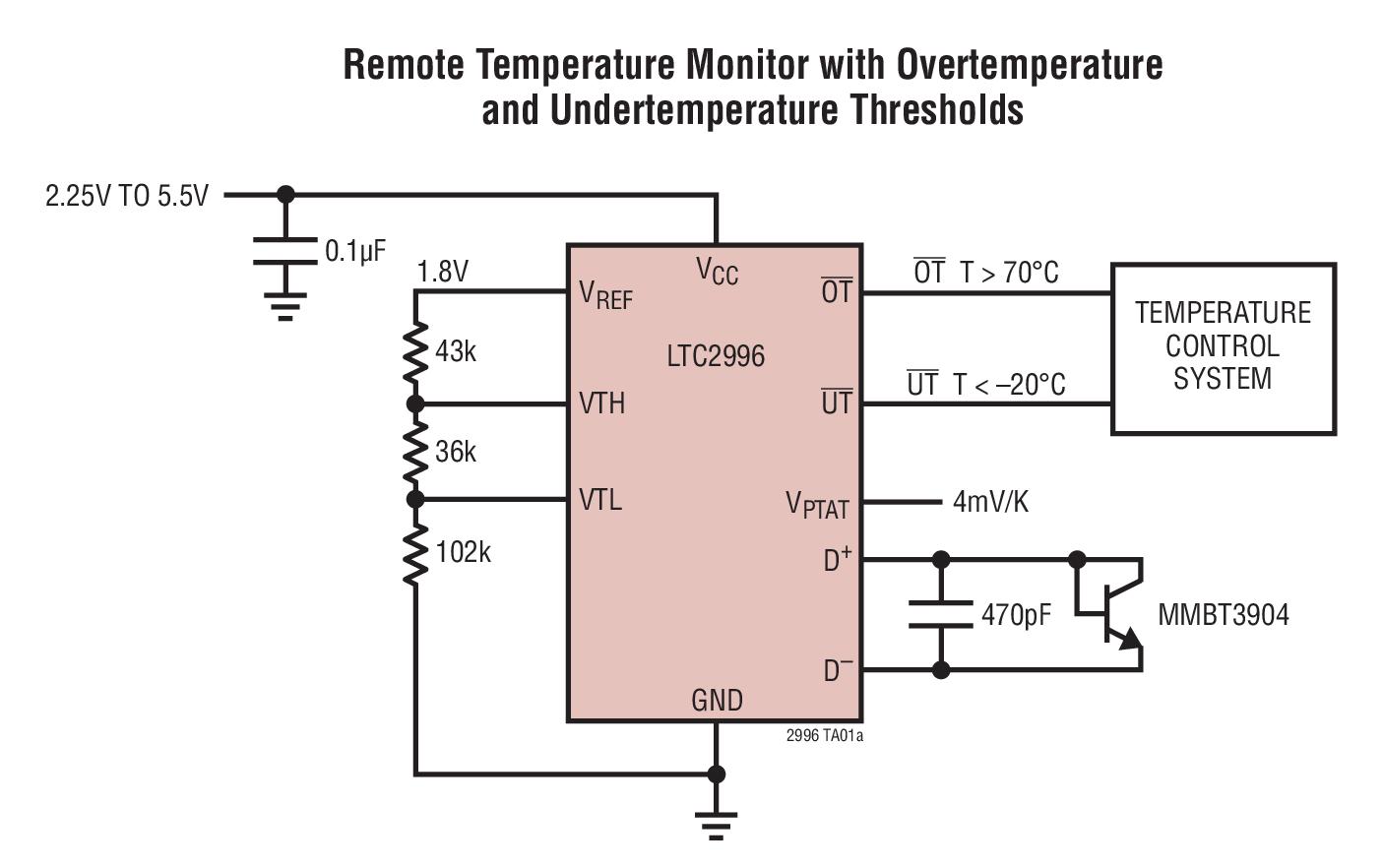 LTC2996 具警报输出的温度传感器