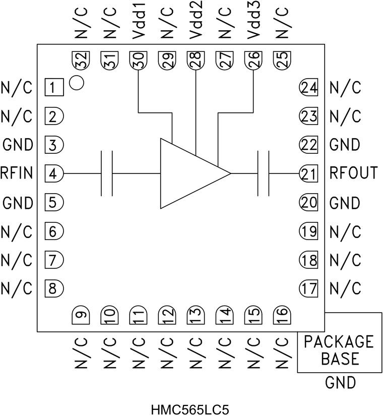 HMC565LC5 低噪声放大器,采用SMT封装,6 - 20 GHz