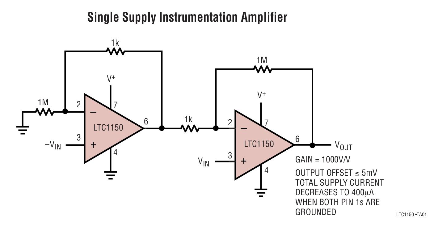 LTC1150 具内部电容器的 ±15V 零漂移运算放大器