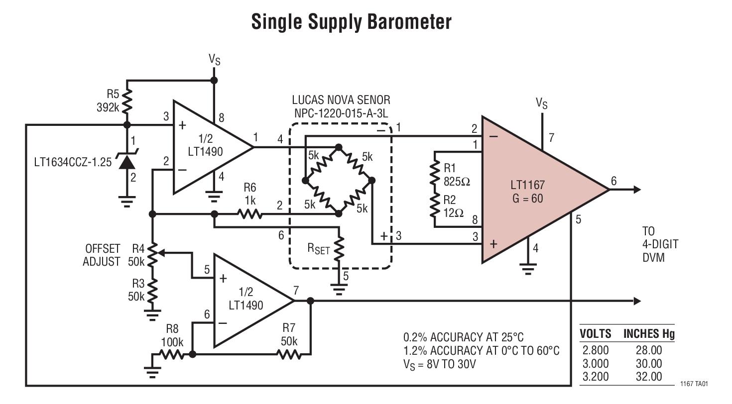LT1167 可利用单个电阻器来设置增益的精准型仪表放大器