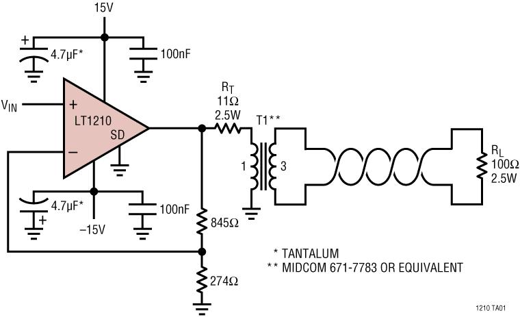 LT1210 1.1A、35MHz 电流反馈放大器