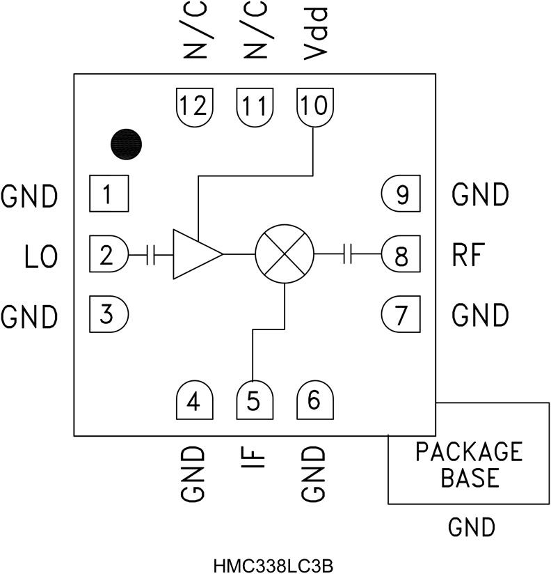 HMC338LC3B 次諧波混頻器,采用SMT封裝,24 - 34 GHz