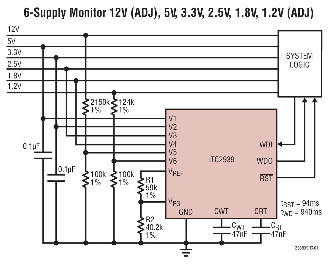 LTC2939 具開門狗定時器的可配置 6 電源...