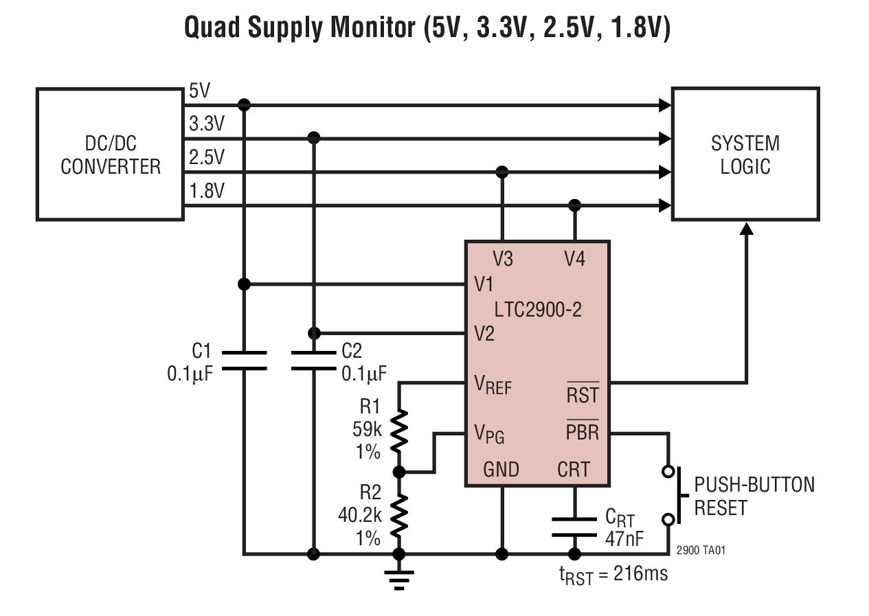 LTC2900 具有可调复位定时器的可设置四电源...