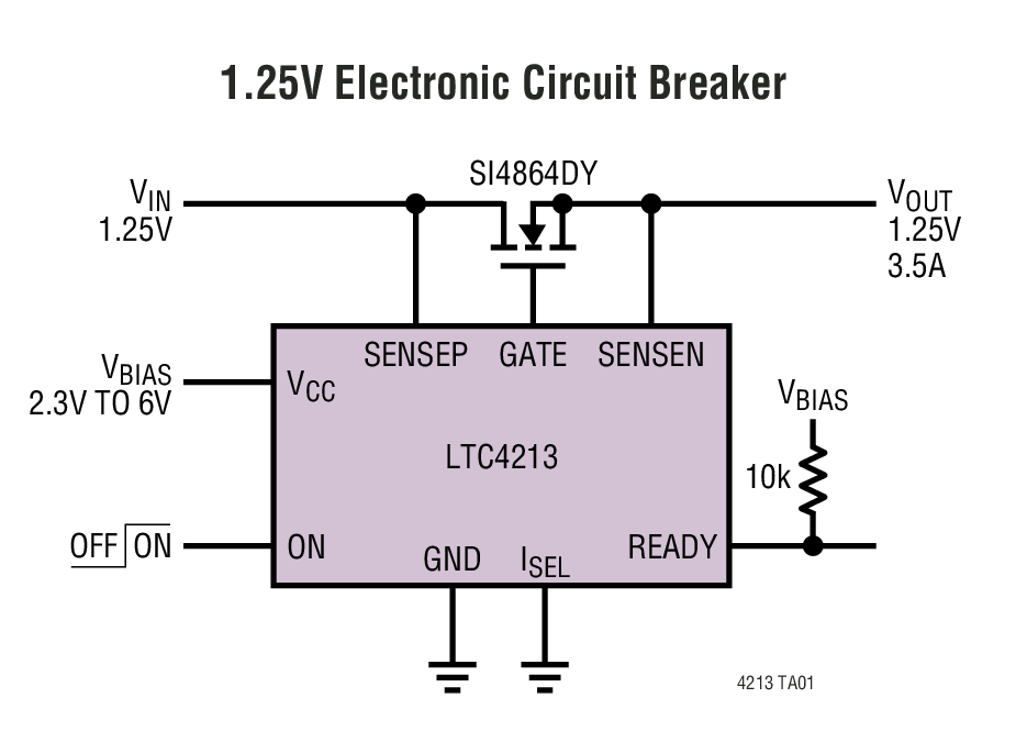 LTC4213 无检测电阻器 (No RSENSE™) 型 电子电路断路器