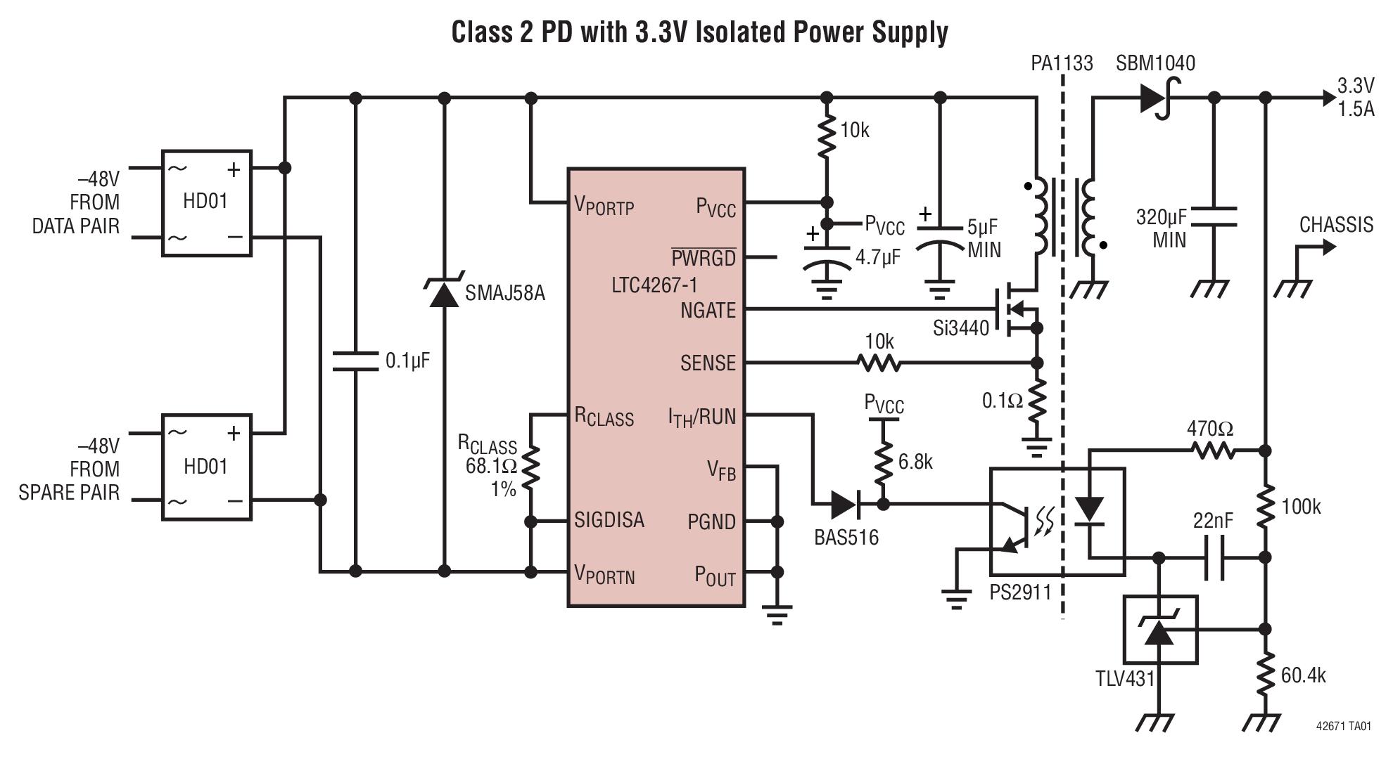 LTC4267-1 具集成型开关稳压器的以太网供电 IEEE 802.3af PD 接口