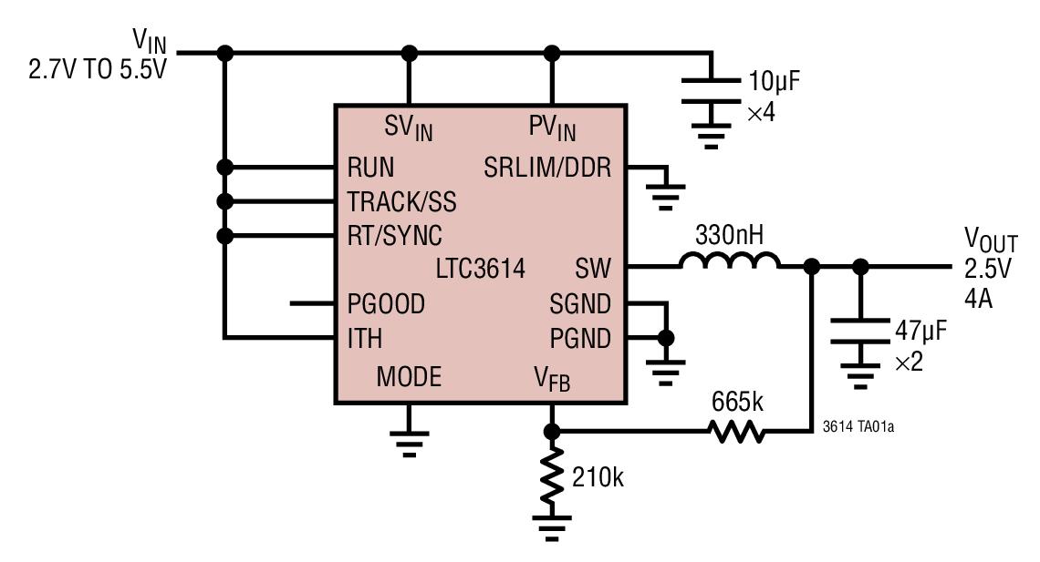 LTC3614 4A、4MHz、单片式同步降压型 DC/DC 转换器