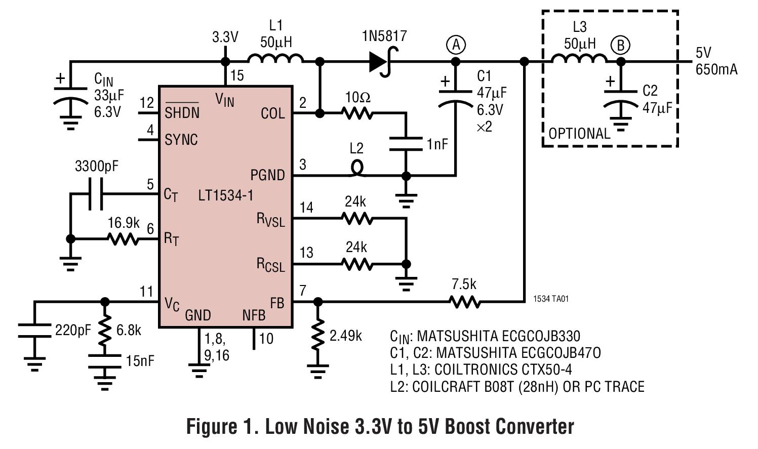LT1534 超低噪声 2A 开关稳压器
