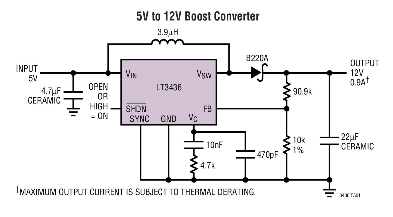 LT3436 3A、800kHz 升压型开关稳压器