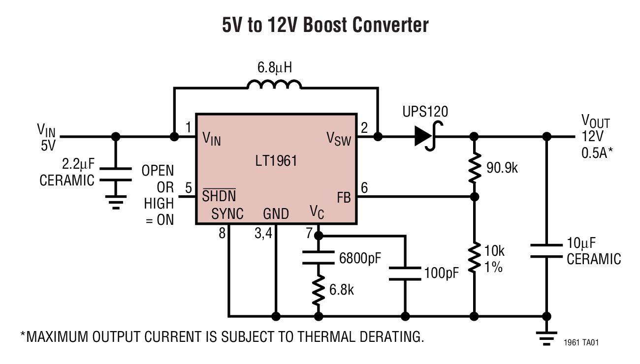LT1961 1.5A、1.25MHz 升压型开关稳压器